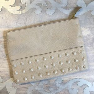 JCrew leather studded cosmetic pouch